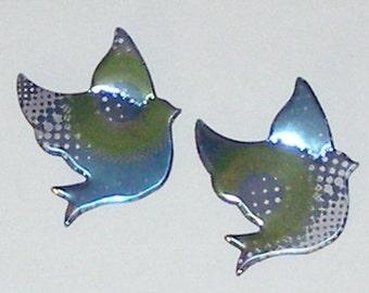Dove Sparrow Bird Magnet Set - Teal Blue Green Fresca Soda Can (B)