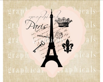 Paris Peach Heart Mementos Eiffel Tower instant digital download image for iron on transfer to fabric burlap pillow Decoupage Paper No 474