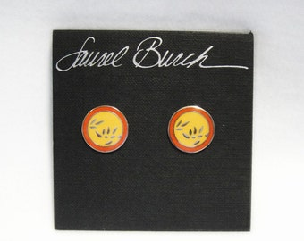 Laurel Burch BAMBOO Earrings - New Old Stock Still on Card - Cloisonne - Retired Design - Discontinued Line - Vintage