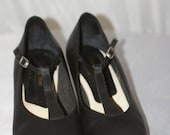 ON SALE Vintage '90s Black MANHATTAN Character Dance Shoes w/ T-Strap Mary Janes Size 10 deadstock