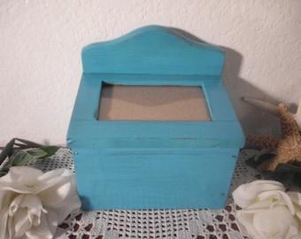 Aqua Turquoise Teal Blue Recipe File Box Picture Frame Up Cycled Vintage Wood Beach Cottage Coastal Seaside Tropical Island Home Decor Gift