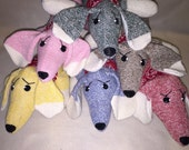Handcrafted sock monkey Dachshund aka Weiner Dog in pink, blue, brown, yellow, red and green