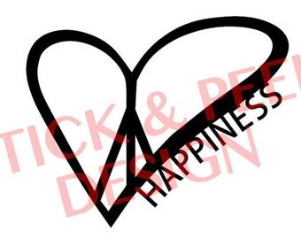 Peace Love Happiness Vinyl Car Decal