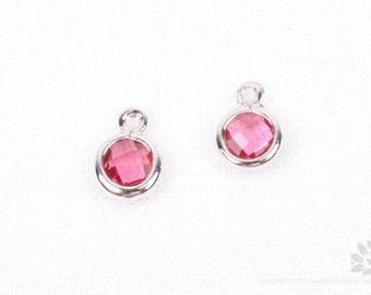 F127-01-S-RU// Rhodium Plated Ruby Faceted Mini Round Glass Pendant, 2 pcs