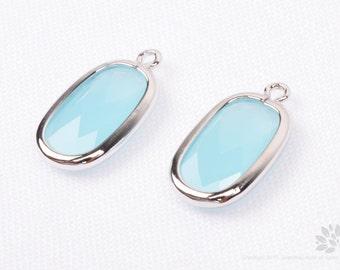 F128-S-LM// Rhodium Plated Light Mint Baguette Glass Pendant, 2 pcs