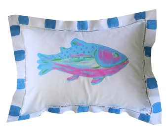 Blue and PInk Rainbow Trout Fish Pillow