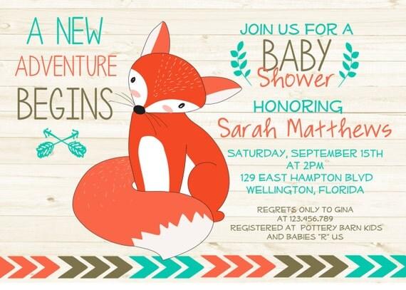 Boho Rustic Wood Tribal Fox Baby Shower Invitation Mint Boy