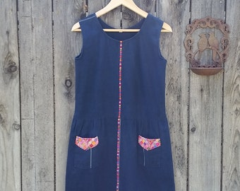Denim Shift Dress with Embroidered Folk Detail Size Small