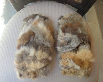 Rabbit fur with leather gloves/mittens for her One size fits all