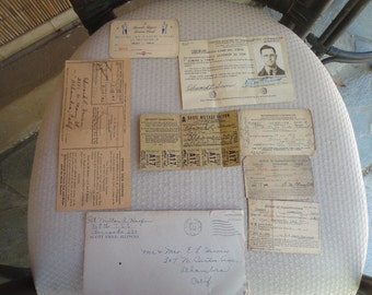WWII Registration card Notice of Classification cards Ration stamps and cards ID and more...