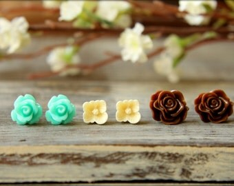 Flower Earring Studs Trio: Aquamarine Rose, Ivory Sakura Blossom, Chocolate Brown Scrunch Rose