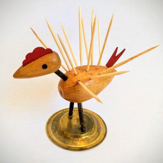 Midcentury wood bird chicken toothpick holder - Toothpick dispenser bird ...