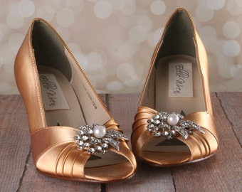 Gold Wedding Shoes -- Yellow Gold Peeptoe Custom Wedding Shoes with Pearl and Rhinestone Flower Adornment