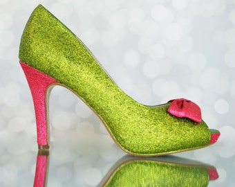 Wedding Shoes - Leaf Green Glittered Custom Wedding Shoes with Fuschia Glittered Heel and Fuschia Glittered Bow
