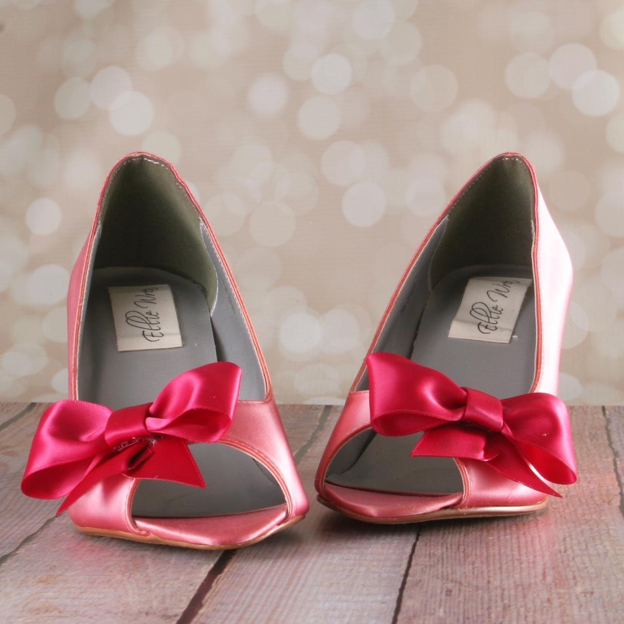 Custom Wedding Shoes Pink Coral Peeptoe Wedge Custom