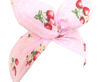 Baby pink with red strawberry bunch and polka dot print wire headband hair wrap