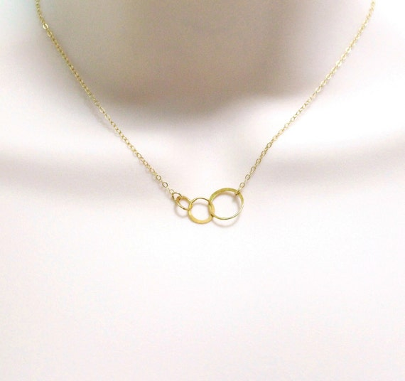 three circle eternity necklace linked circles necklace tiny