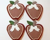 "Set of (4)-Country Apples Wool Felt Blend Stuffed Ornament 4""x4"""