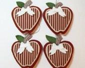 "Set of (4)-Country Apples Wool Felt Blend Stuffed Ornament 4""x4"""