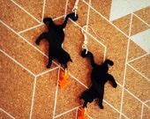 Black Cat Earrings - Cat and Fish Perspex Earrings  - Catchin'  Fish by Sugar Jones - Meow