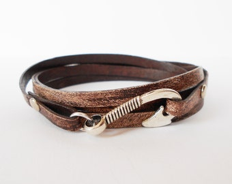 brown leather wrap bracelet, fish hook leather wrap, mens leather bracelet, unisex cuff, rocker style bracelet, gift for him