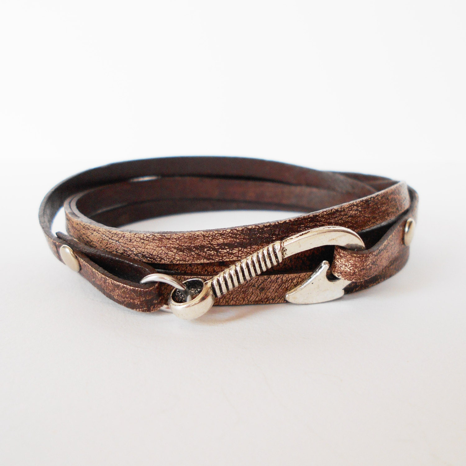 Brown leather wrap bracelet fish hook leather wrap mens for Leather fish hook bracelet