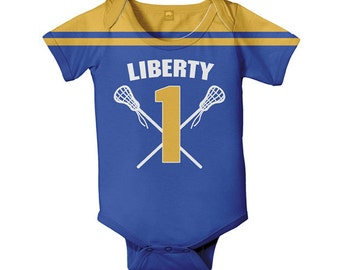 Baby Lacrosse Bodysuit, Personalized Lacrosse Jersey Style One-Piece, Choose Team Colors and Names, Infant Lacrosse Outfit