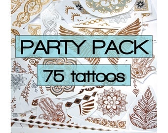 75 pieces of gold, silver metallic tattoos with color highlights, party favors, favours, flash, stocking stuffer, grab bag,  gifts teenager