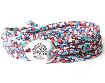 Liberty fabric bracelet with TierraCast bird in a tree link in turquoise red and blue, confirmation gift for girls, meaningful gift idea