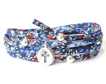 Cross bracelet in blue & silver, sympathy gift idea for women, Liberty fabric wrap with silver beads, bereavement gift UK
