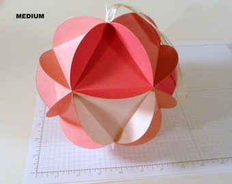 Paper Globe Ornament, pink ombre, DIY kit, Baby Shower decor, wedding decor, 3d ball ornament, Icosahedron, geodesic sphere, paper crafting