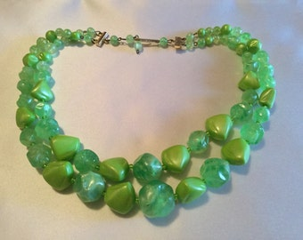 Vintage Necklace Two strand Green Plastic Bead