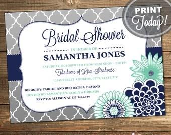Wedding Shower Invitation, Bridal Shower, Quatrefoil, Floral, Navy Blue, Mint Green, Moroccan, Printable (Custom Order, INSTANT DOWNLOAD)