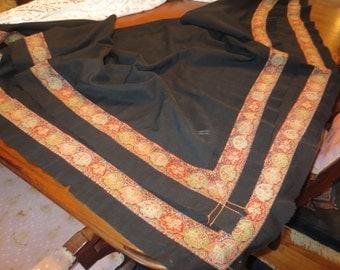 Early PAISLEY Handwoven Border VICTORIAN Wool SHAWL