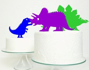 Dinosaur Cake Topper - Stegosaurus T-Rex Stegosaurus Triceratops Cake Topper