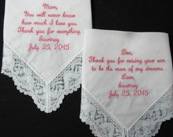Wedding Handkerchief embroidered for the Mother of the Bride and Mother of the Groom