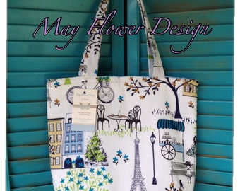 French Inspired Tote Bag / Handmade Handbag / Paris Bag