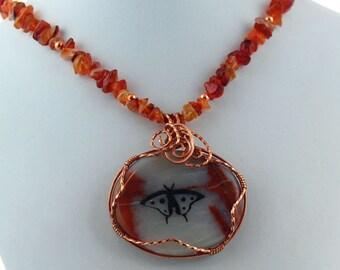 Butterfly Spirit Stone Pendant Carnelian Necklace