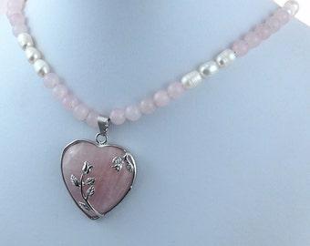 Pink Quartz Pearl Natural Stone Rose Heart Necklace Pendant