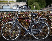Paris Photography, Bicycle, Bike Photography, France Art, Travel Photography, Romantic Home Decor, Padlocks of Love, Fine Art Photograph