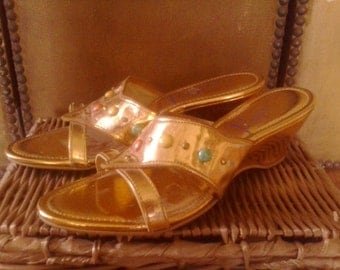 60s gold wedge sandals
