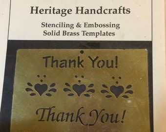 Heritage Handcraft  Brass Stencil  Thank You  Dry or Wet Emboss  Stencil/template  hearts