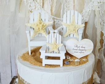 Beach family wedding cake topper family topper star fish Adirondack chair bride groom destination wedding