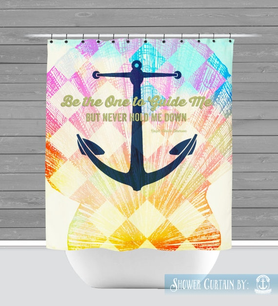Anchor Shower Curtain: Emerson Quote Be The One to Guide Me   Made in ...