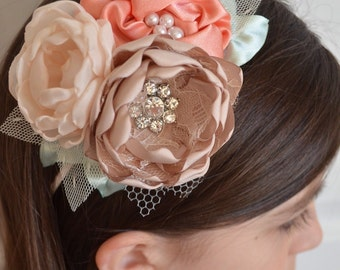 Headband - Cream, Peach, Mint and Taupe Flowers - Family Pictures, Photography Prop, Special Headband, Flowergirls Headband