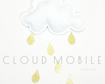 Cloud mobile, baby mobile, gold and white mobile, nursery mobile