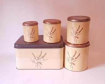 1950 s Kitchen Cannister Set Matching Bread Box Kitchen Storage Cottage Vintage Kitchen Decor Copper 5 Topped Canister Set Decoware