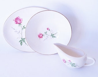 Midcentury White with Pink Mauve Roses Serving Pieces Large Bowl Platter Gravy Sauce Boat Mix Match China Dinnerware Uniquely Yours