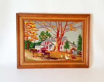 Vintage Handmade Crewel Petite Point Farm House Art Framed Petite Point Barn Horse Carriage Farmhouse  Rustic Home Decor Cottage Chic