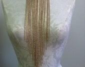 Goldtone rhinestone body chain necklace combination by LOLITA ALONZO